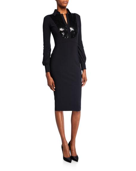 Chiara Boni La Petite Robe Sequin-Bib Long-Sleeve Tuxedo Dress