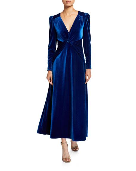 Self-Portrait Twisted Velvet Long-Sleeve Dress