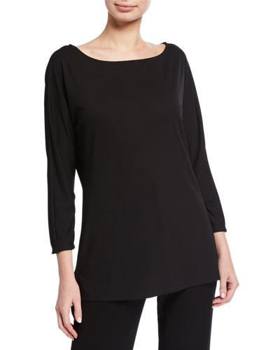 Boat-Neck Long-Sleeve Matte Jersey Top