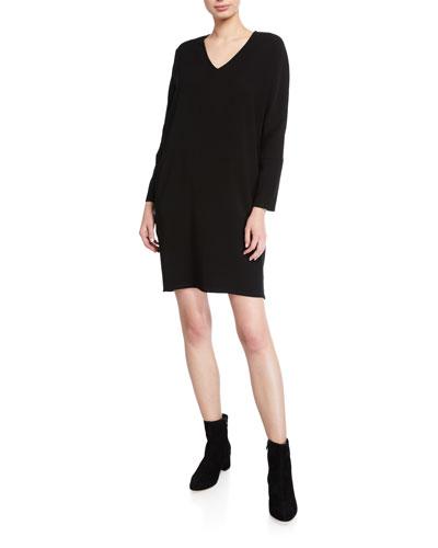 V-Neck Bi-Stretch Long-Sleeve Easy Shift Dress