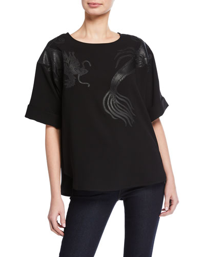 Short-Sleeve Crepe T-Shirt with Embroidered Dragon