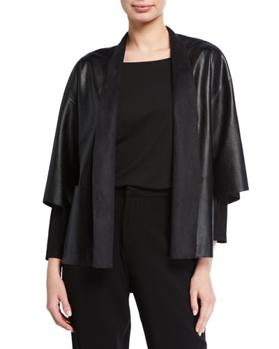 Faux-Leather Short Jacket with Pockets