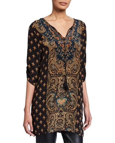 Plus Size Sanaya Printed Long Silk Tunic with Tassel