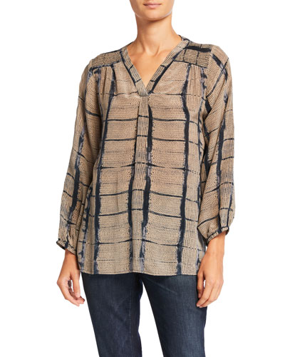 Plus Size Jamie Printed V-Neck Long-Sleeve Silk Tunic