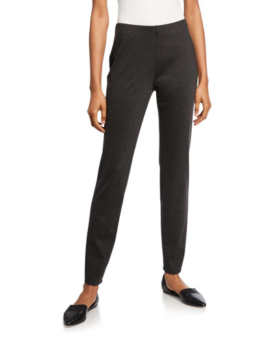 Plus Size Melange Ponte Slim Pants