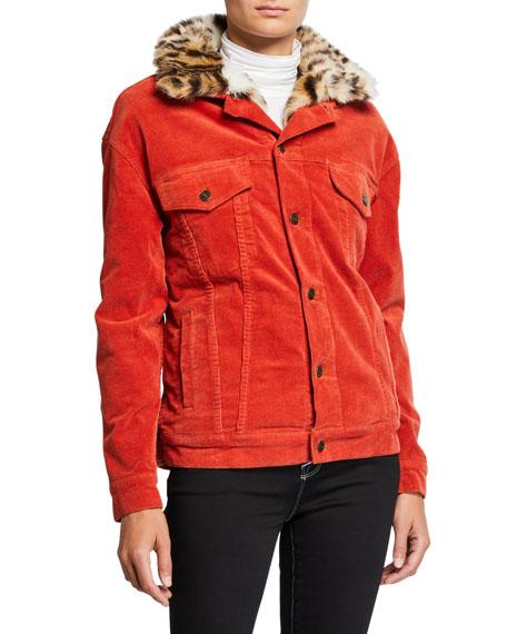 Pam & Gela Oversized Corduroy Jacket with Faux-Fur Collar