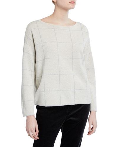 Plus Size Windowpane Merino Wool Bateau-Neck Sweater