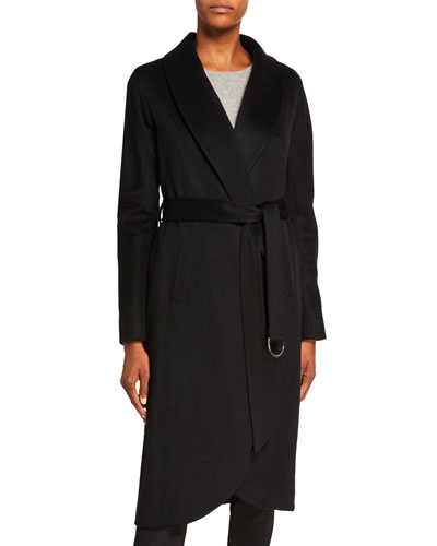 Cashmere High-Low Belted Coat