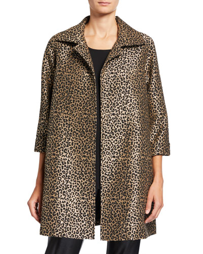 Plus Size Sequin Leopard Jacquard Party Jacket