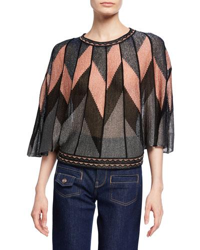 Metallic Broken Stripes Flutter-Sleeve Top
