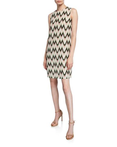 Zig Zag Printed Sleeveless Silk Dress