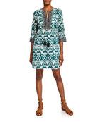 Bella Tu Ikat Tassel-Tie 3/4-Sleeve Tunic Dress
