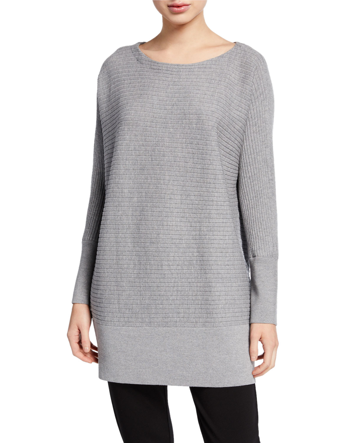 Eileen Fisher Sweaters PETITE WASHABLE WOOL BATEAU-NECK RIBBED TUNIC SWEATER