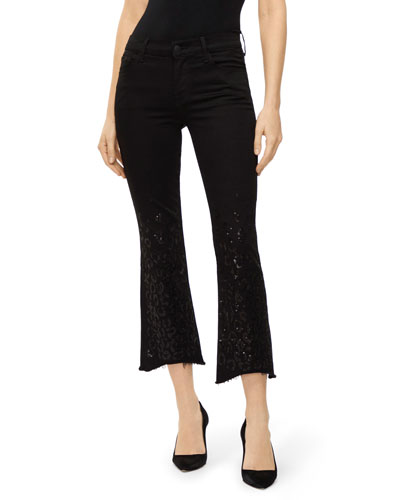Selena Mid-Rise Cropped Boot-Cut Jeans