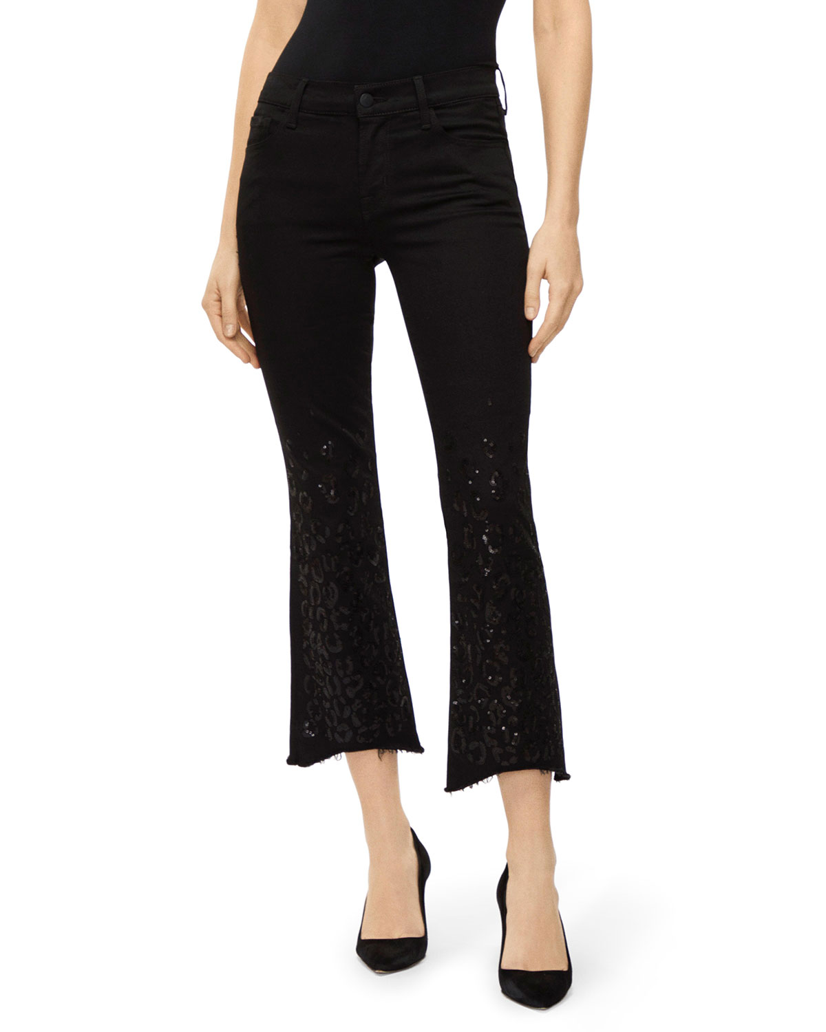 J Brand Jeans SELENA MID-RISE CROPPED BOOT-CUT JEANS
