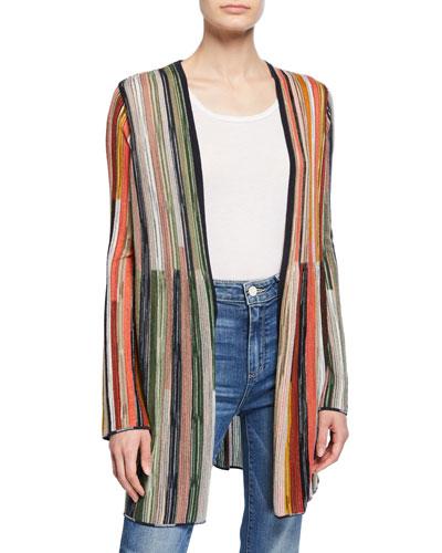 Multicolor Stripe Long-Sleeve Open-Front Cardigan