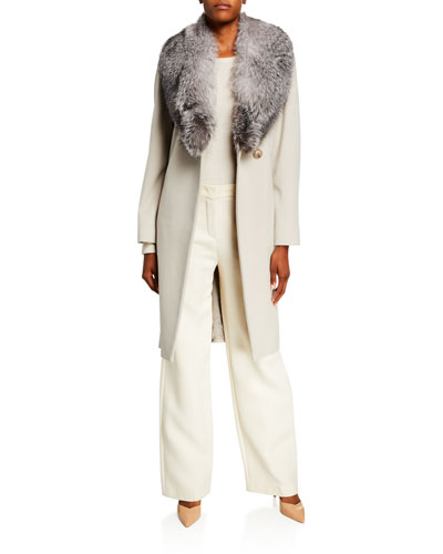 Fur Shawl-Collar Long Wrap Coat