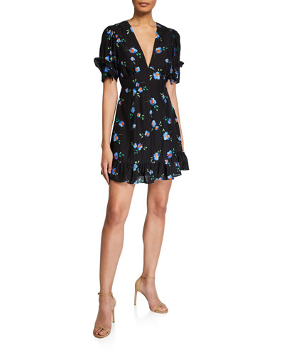 Azure Floral-Print Flounce Mini Dress