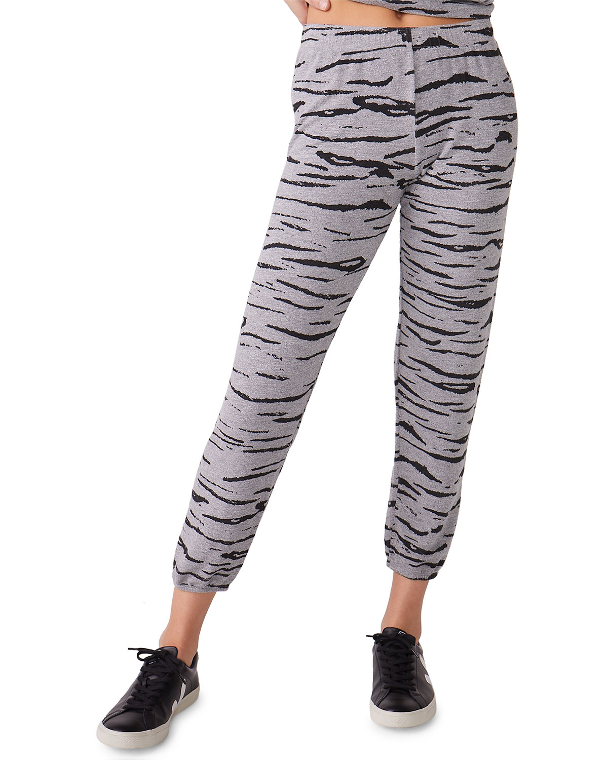 Monrow Pants HEATHERED TIGER-PRINT SWEATPANTS