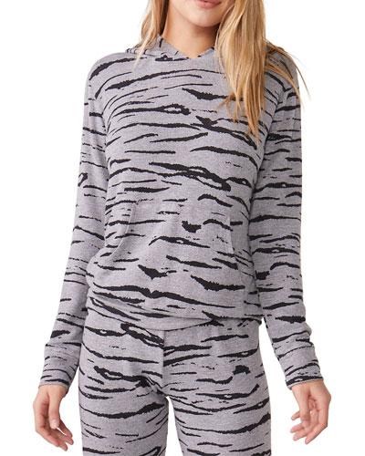 Heathered Tiger-Print Pullover Hoodie