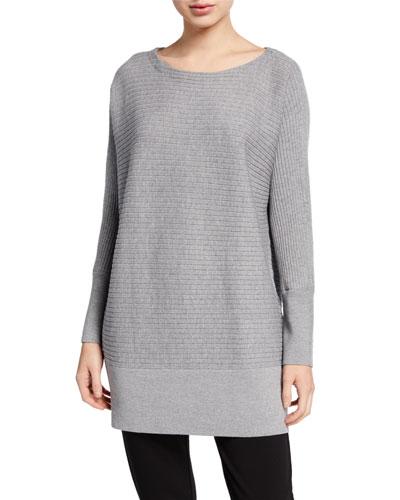 Plus Size Washable Wool Bateau-Neck Ribbed Tunic Sweater