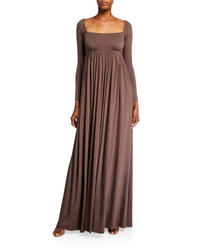 Plus Size Isa Long-Sleeve Jersey Maxi Dress