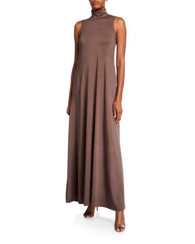 Cait Mock-Neck Sleeveless Long Dress