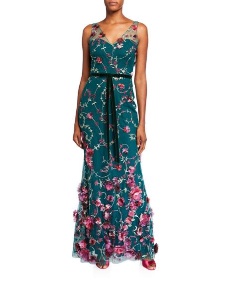 Marchesa Notte V-Neck Sleeveless Embroidered Gown w/ 3D Flowers & Velvet Trim