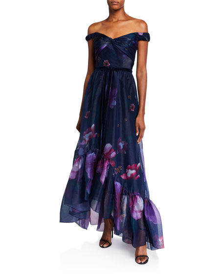 Marchesa Notte Off-the-Shoulder Floral Organza High-Low Draped-Bodice Gown