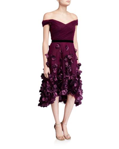 Off-the-Shoulder Draped-Bodice High-Low Dress w/ 3D Flower Degrade