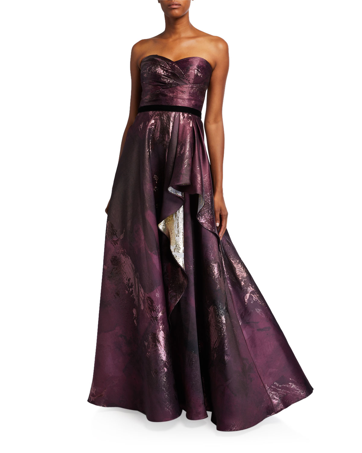 Marchesa Notte Dresses STRAPLESS DRAPED METALLIC JACQUARD GOWN W/ VELVET RIBBON TRIM