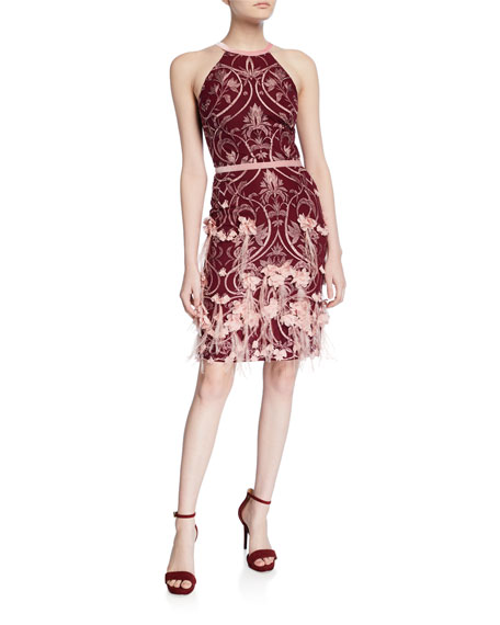 Marchesa Notte Feather & 3D Flower Halter Dress