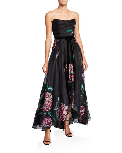 Floral Embroidered Strapless High-Low Organza Gown w/ Ribbon Trim