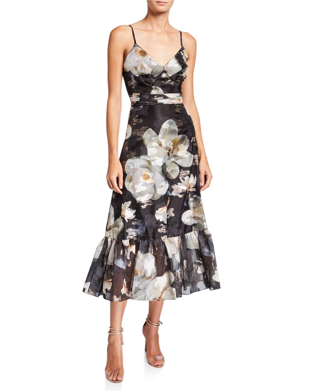 Marchesa Notte Dresses FLORAL FILS COUPE V-NECK SLEEVELESS RUFFLE-HEM DRESS WITH LACE-TRIM