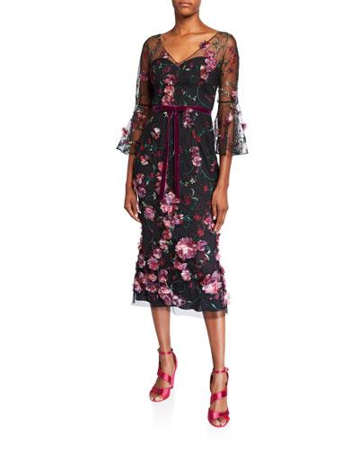 V-Neck Flutter-Sleeve Embroidered Tulle Dress w/ 3D Flowers