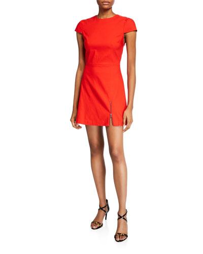 Maya Short-Sleeve Asymmetrical Zip Mini Dress