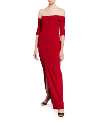 Draped Asymmetric Crepe Column Gown with Slit