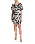 Aidan Mattox Leopard Sequin V-Neck Short-Sleeve Mini Dress