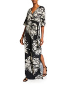 Melissa Masse Plus Size Printed Long Caftan Dress