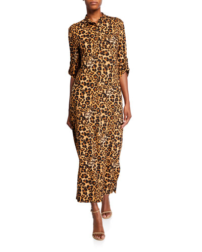 Animal-Print Brushed Luxe Jersey Long Dress with Belt