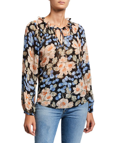 Long-Sleeve Blush Rose Printed Top