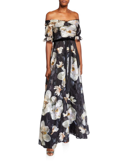 Marchesa Notte Floral Off-the-Shoulder Fil Coupe A-Line Gown