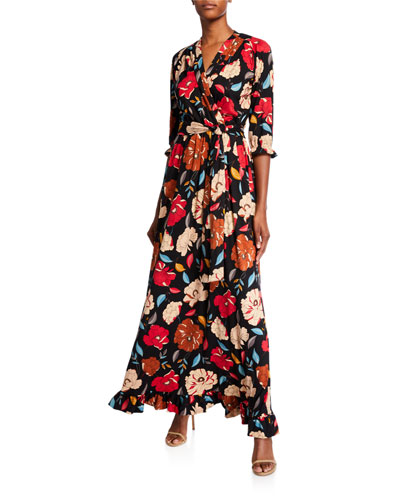 Floral Brushed Luxe Jersey Long Dress with Belt
