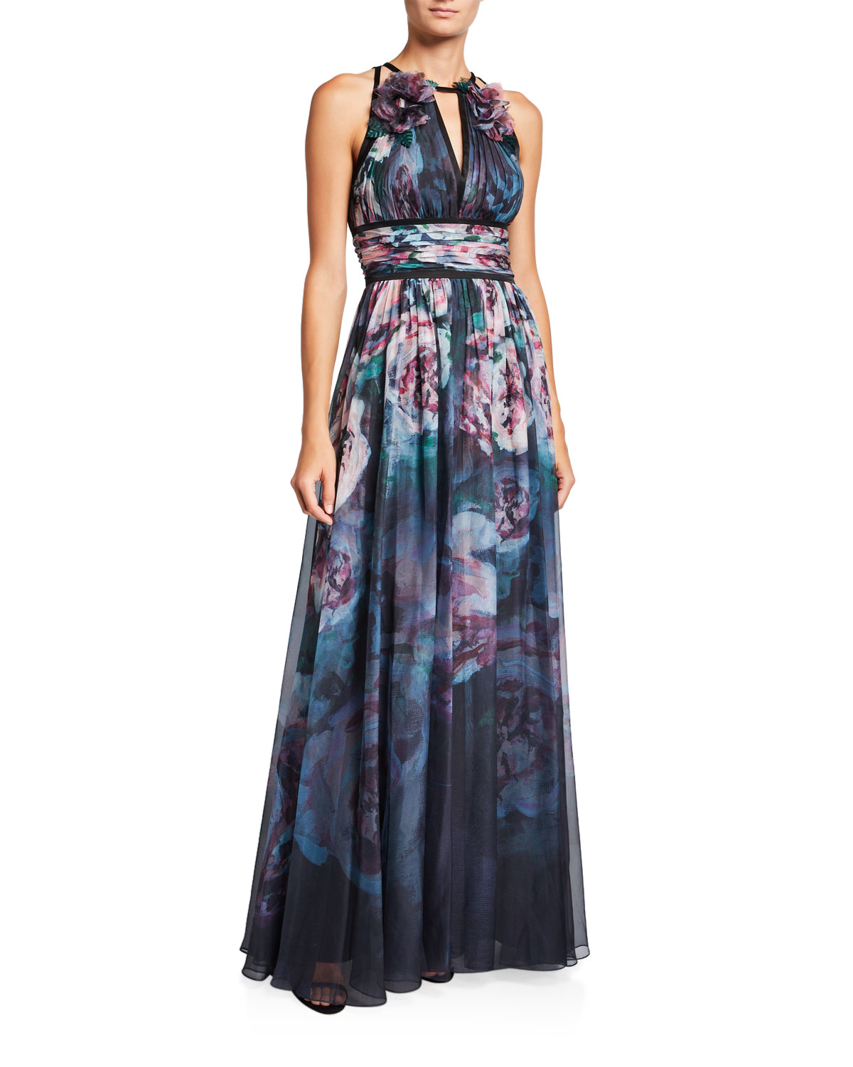 Marchesa Notte Tops WATERCOLOR SLEEVELESS CHIFFON GOWN WITH SATIN TRIM & KEYHOLE