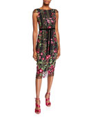 Marchesa Notte Floral Embroidered Cap-Sleeve Tea-Length Dress