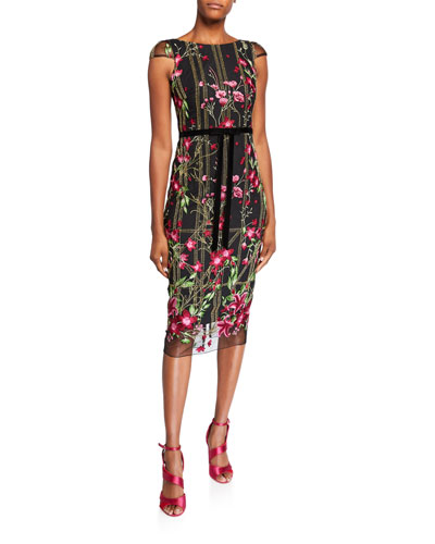 Floral Embroidered Cap-Sleeve Tea-Length Dress