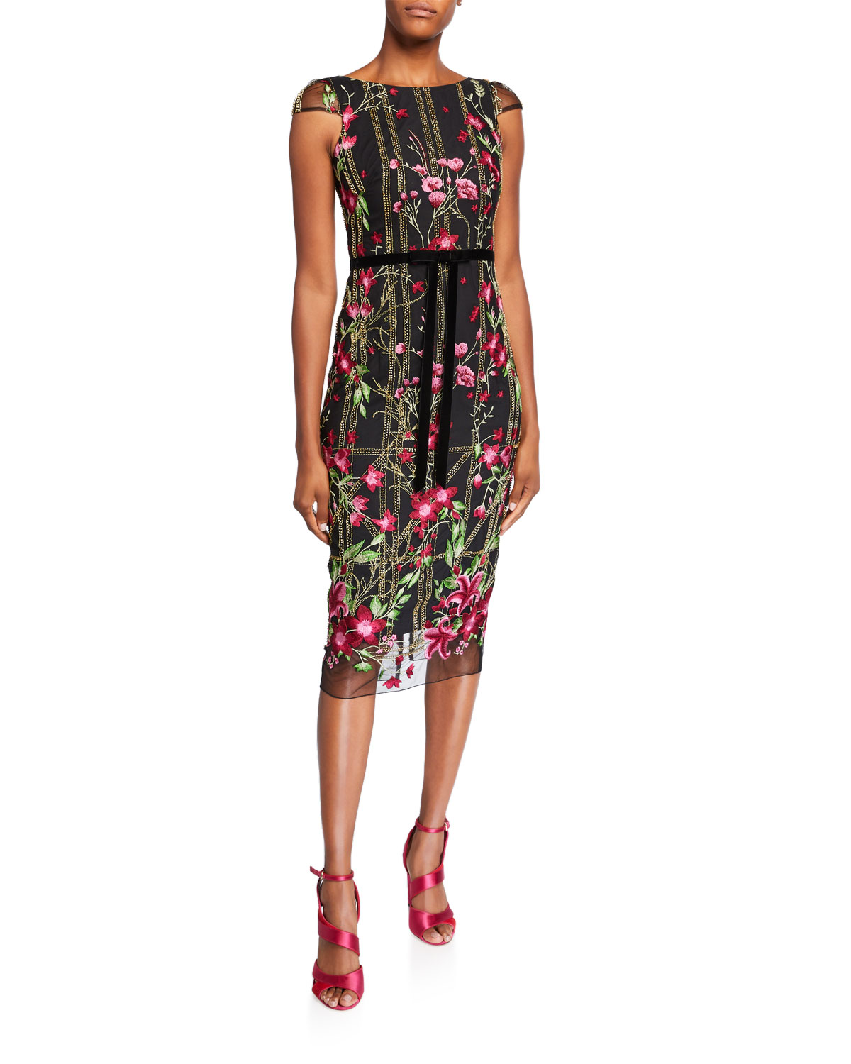 Marchesa Notte Dresses FLORAL EMBROIDERED CAP-SLEEVE TEA-LENGTH DRESS