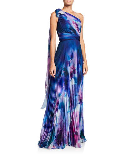 Watercolor One-Shoulder Pleated Chiffon Gown w/ Draped Bow