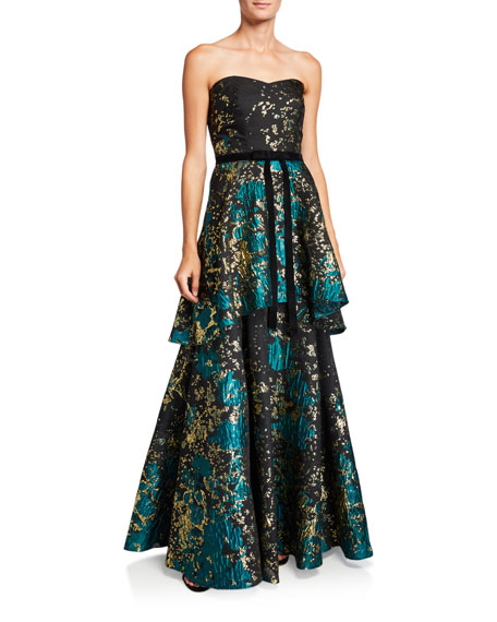Marchesa Notte Strapless Metallic Fil Coup Tiered Gown with Velvet Waist Trim