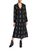 Rachel Pally Gail Printed V-Neck Blouson-Sleeve Drop-Waist Dress